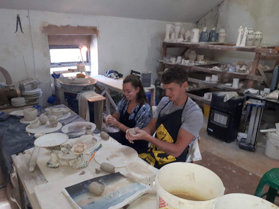 Pottery classes with Ruairí and Roisín.