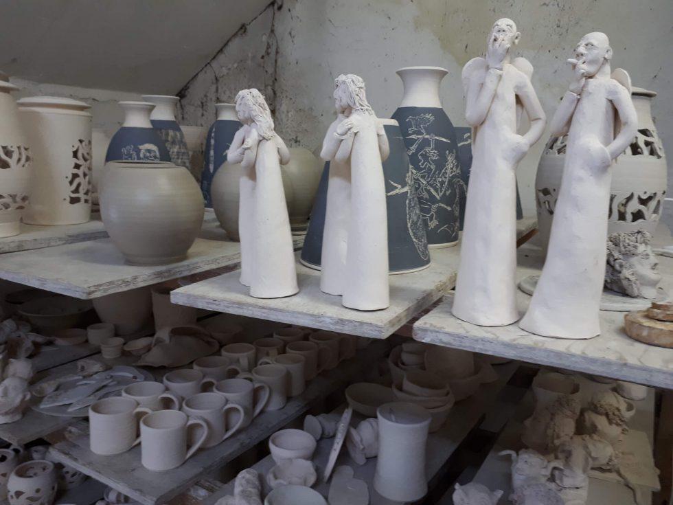 Pots waiting for Stoneware, Raku and Pit firings